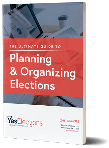 Ebook Cover to the Ultimate Guide To Planning and Organizing Elections featuring woman and man in office setting